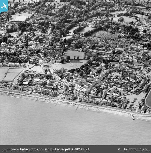 aerial 1953 Sidmouth town, Britain from Above archive