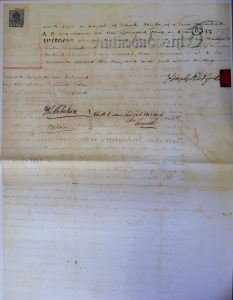 Reverse of Ham conveyance document