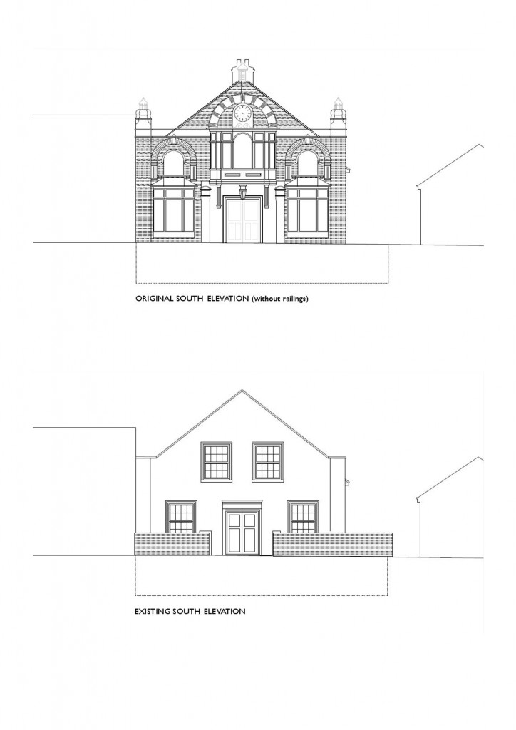 architectural drawings of the current and original south frontage